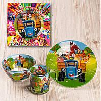 """Набор посуды для детей «Трактор"""" 3-х предметный. (Тарелка 195 мм, пиала 320 мл, чашка 250 мл)."""