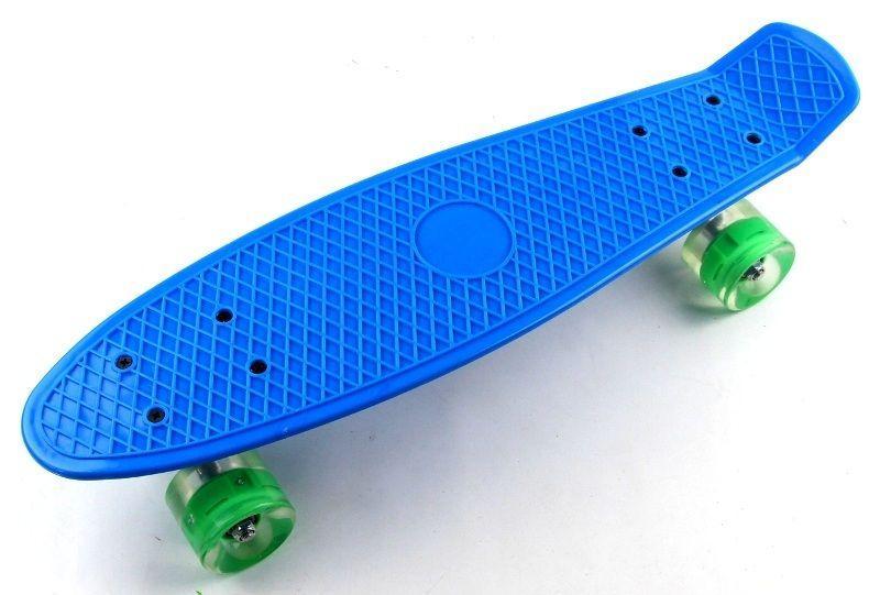 Penny Board Blue Светящиеся зеленые колеса. (946899765)