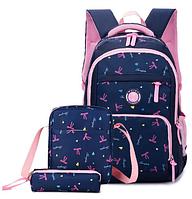 Рюкзак детский женский Набор 3 в 1 для девочки 2 цвета. Бантики синий.
