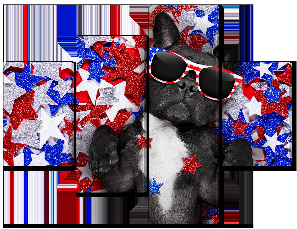 Модульная картина Interno Эко кожа Звездная собака 126x94см (A3637M)