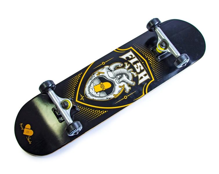 Дерев'яний СкейтБорд від Fish Skateboard Heart