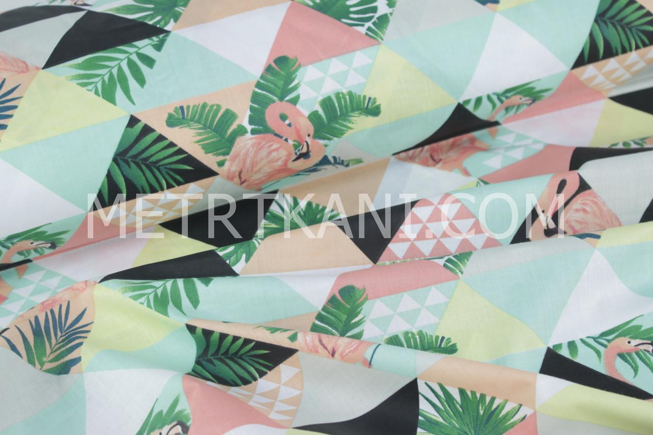 """Ткань хлопковая """"Фламинго с мятно-коралловыми треугольниками""""  №1642"""