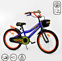 """Велосипед 20"""" дюймов 2-х колёсный R-20722""""CORSO"""" ручной тормоз, звоночек, корзинка, подножка, доп. колеса, фото 1"""