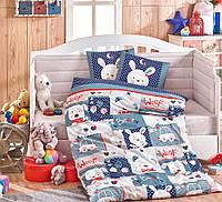 Детская постель в кроватку 100х150 HOBBY поплин Snoopy синий