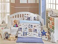 Детская постель в кроватку 100х150 HOBBY поплин Sweet Home голубой