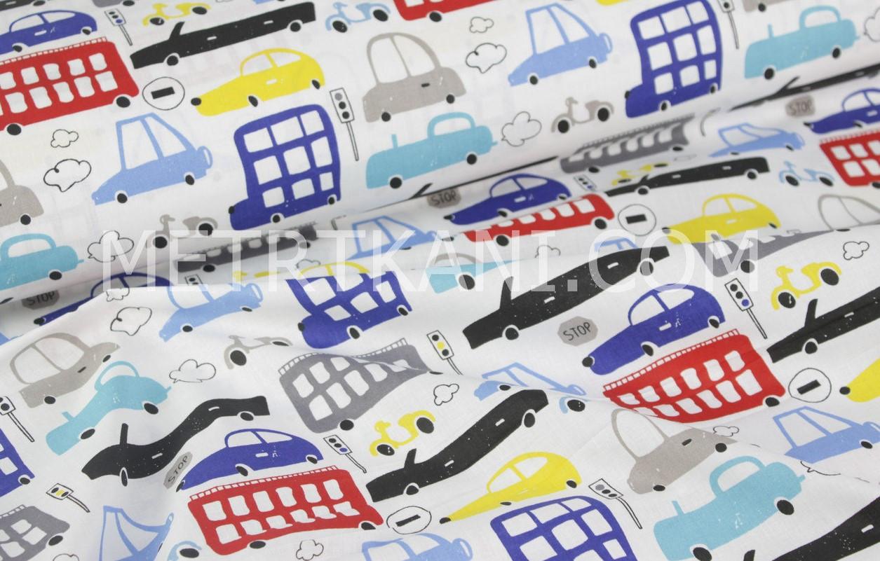 Ткань хлопковая с игрушечными машинками на белом фоне№1643