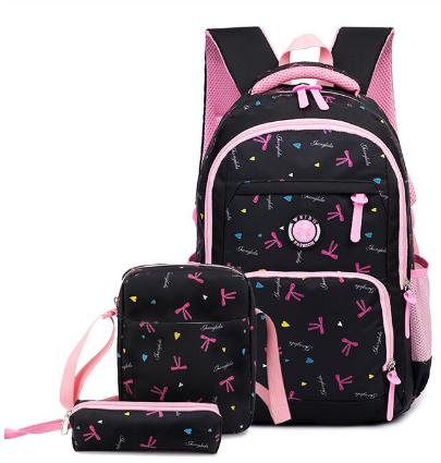 Рюкзак детский женский Набор 3 в 1 для девочки 3 цвета. Бантики черный.