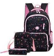 Рюкзак детский женский Набор 3 в 1 для девочки 3 цвета. Бантики черный., фото 1