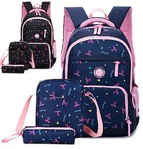 Рюкзак детский женский Набор 3 в 1 для девочки 2 цвета. Бантики черный и синий.