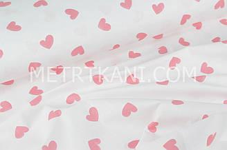 """Ткань хлопковая  """"Большие коралловые сердца"""" на бело-розовом  фоне №1644"""