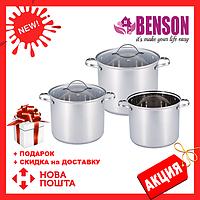 Набор кастрюль из нержавеющей стали 6 предметов для ресторанов и кафе Benson BN-214 (11 л, 13 л, 16 л)