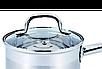 Ковш с крышкой из нержавеющей стали Benson BN-227 (1 л)   сотейник   ковшик Бенсон   набор посуды, фото 8