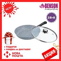 Сковорода глубокая с гранитным покрытием Benson BN-520 (28*8см), крышка, индукция, ручка бакелит  сковородка, фото 1