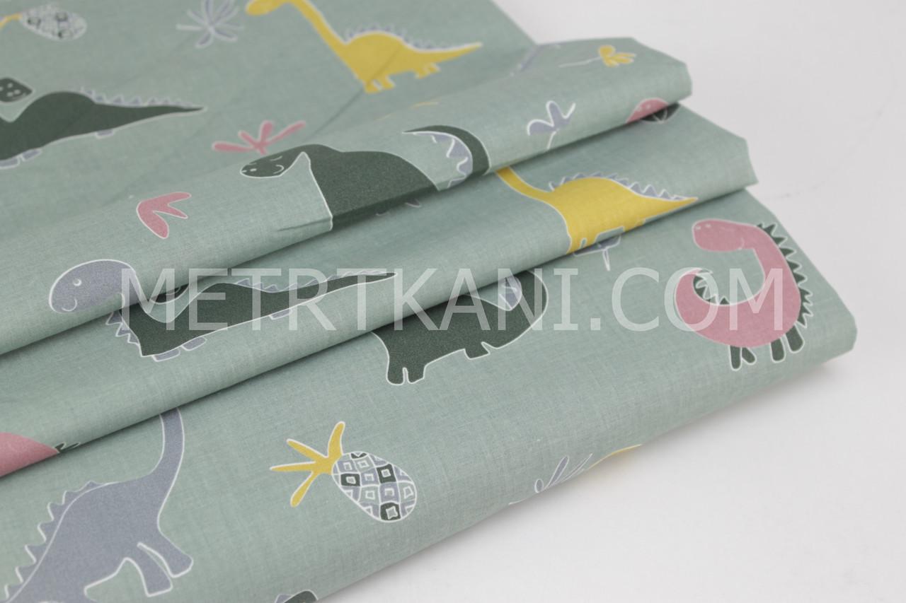 """Ткань хлопок премиум класса """"Динозавры и ананасами"""" фон цвет хаки №12-04"""