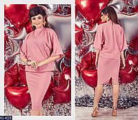 Женский стильный костюм с миди юбкой на резинке,рукав три четверти+бусинки (креп-дайвинг) 2 цвета