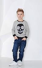 Детский бомбер утепленный с пайетками оборотнями для мальчика MACKAYS Серый Череп