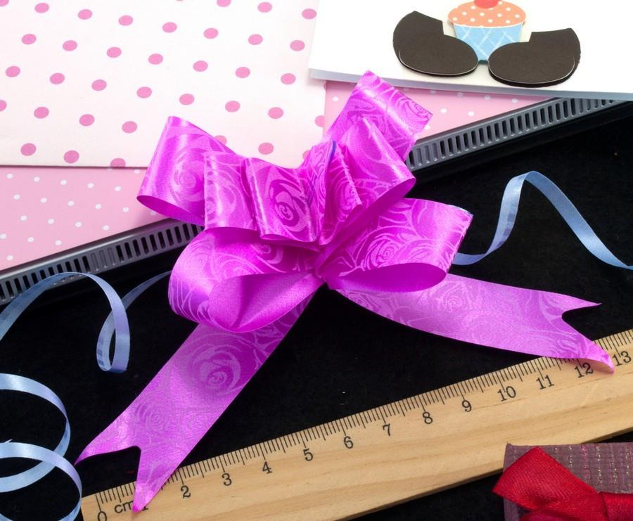(10шт) Подарочные бантики 39х2см (13х10см в собранном виде) бант-затяжка Цвет - Фуксия