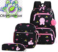 Рюкзак школьный детский женский Набор 3 в 1 для девочки чёрный . Сердечки. В подарок брелок., фото 1