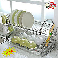Сушилка для Посуды из Нержавеющей Стали Kitchen Storage Rack Стойка для Хранения Посуды  (V-212)
