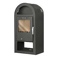 Стальной камин на дровах ACKERMAN Р5 7.5 кВт квадратный (верх полукруг, дверка стекло) черный