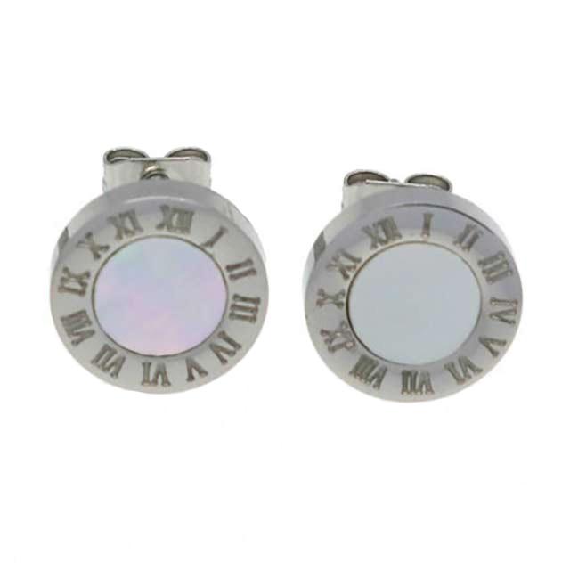 Сережки Bvlgari - Однотонний камінь (Срібні з білим)
