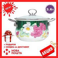 Эмалированная кастрюля с крышкой Benson BN-113 белая с цветочным декором (3.6 л) | кухонная посуда | кастрюли