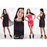 """Нарядный комплект : платье+накидка """"Мона Лиза"""" коралловый+черный"""