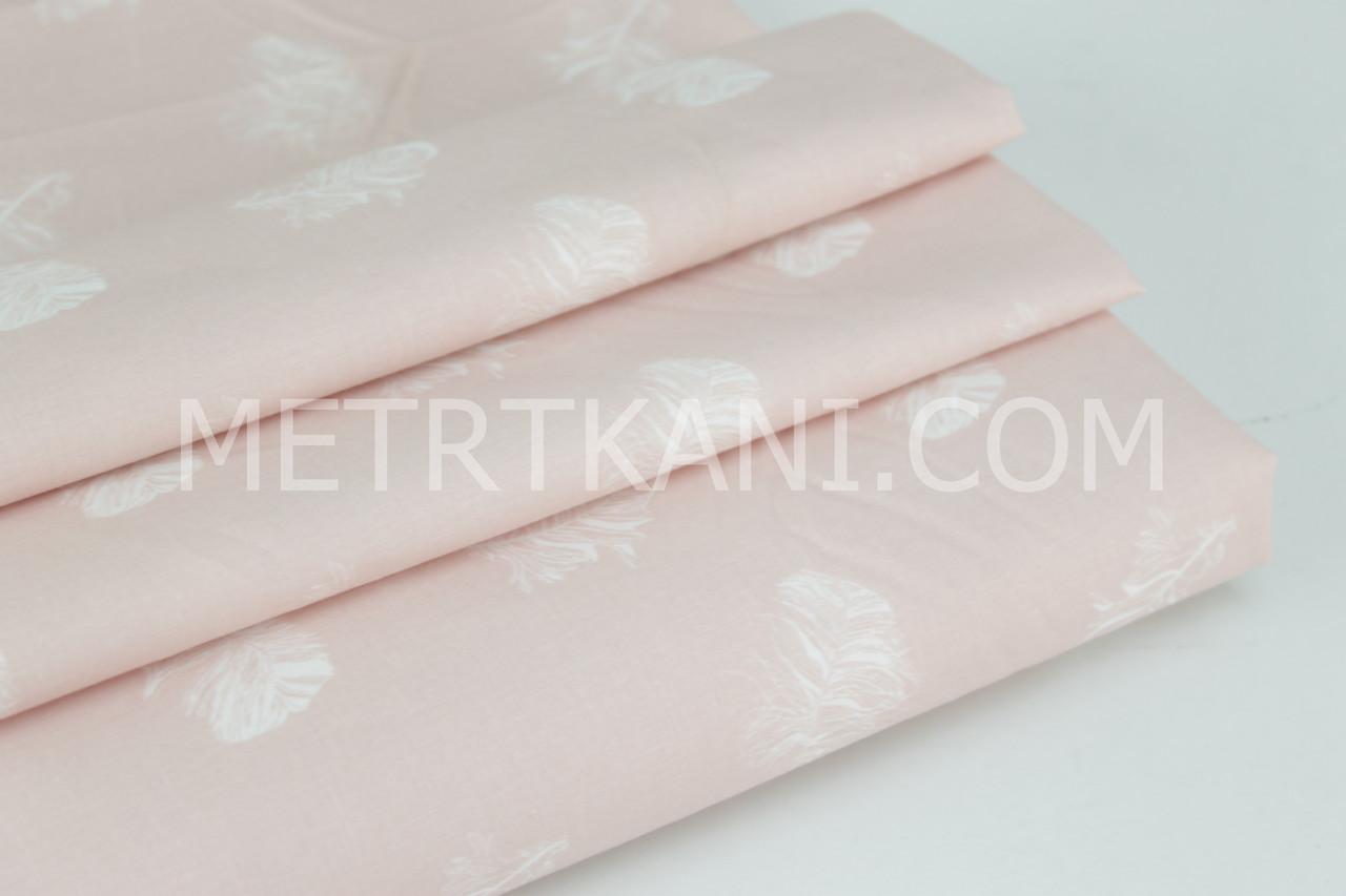 Ткань хлопковая премиум класса с перышками на кораллово-пудровом фоне №12-08