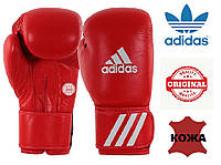 Перчатки для бокса Adidas с аккредитацией WAKO (кикбоксинг) из нат. кожи (ADIWAKOG1-RD, красные), фото 1