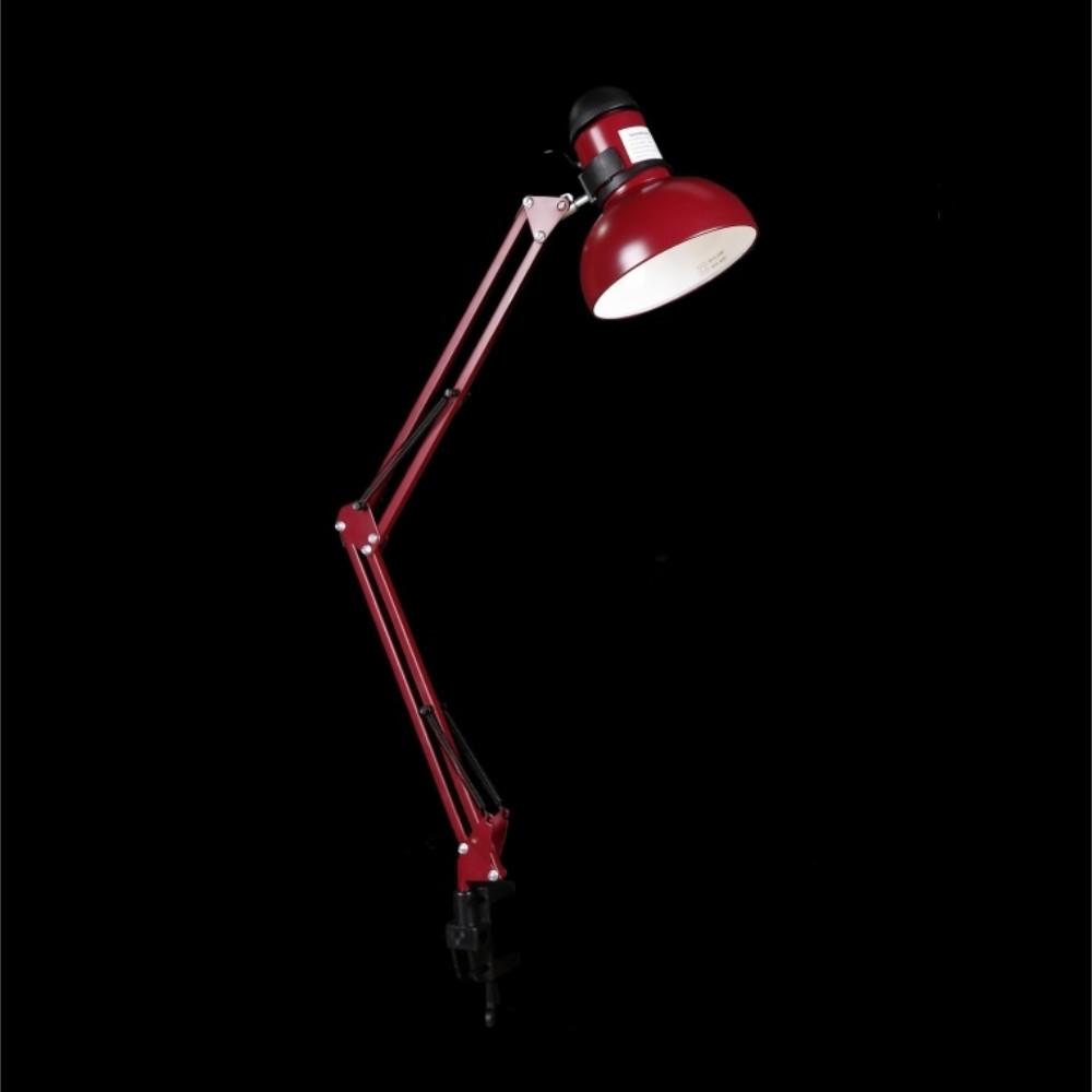 Настольная лампа на струбцине бордового цвета под лампочку E27 СветМира VL-N911 (BRD)
