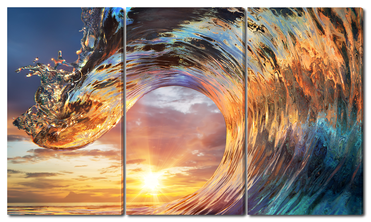Модульная картина Interno Эко кожа Волна и закат  84х47см (A3658S)