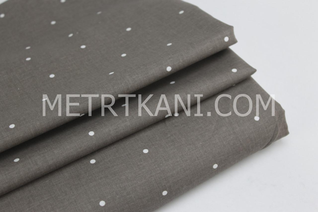 Бавовняна тканина преміум з білим горохом на коричневому тлі №2-459