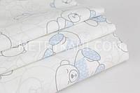 Хлопковая ткань премиум класса с мишками в голубых свитерах №2-425