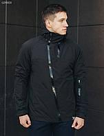 Куртка мужская осенняя STF HH black черная демисезонная непромокаемая молодежная с капюшоном