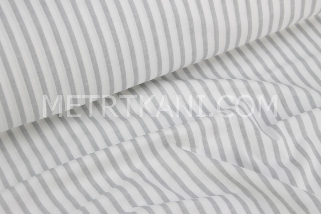 Хлопковая ткань серая полоска 1 см 125г/м2 №850
