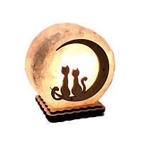 """Соляная лампа светильник """"Коты на луне"""""""