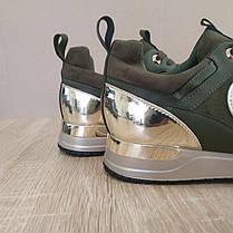 Кросівки Louis Vuitton Run Away зелені хакі еко шкіра, замша еко Луї Віттон (КОПІЯ), фото 3