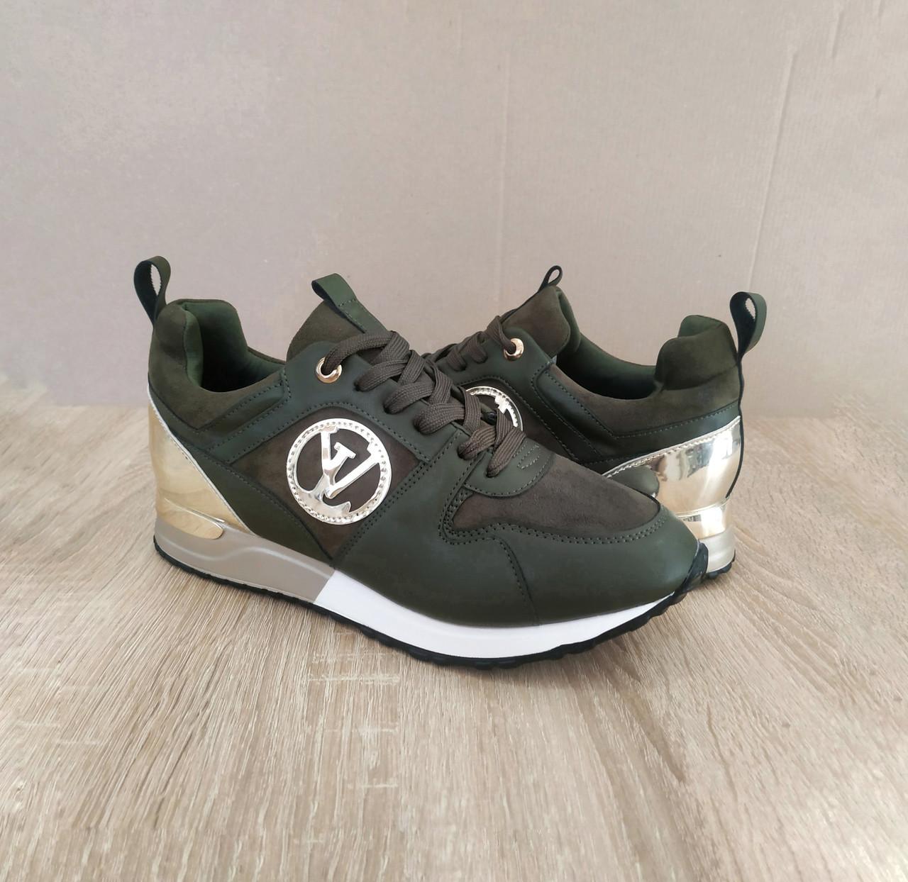 Кросівки Louis Vuitton Run Away зелені хакі еко шкіра, замша еко Луї Віттон (КОПІЯ)