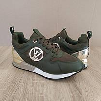 Кросівки Louis Vuitton Run Away зелені хакі еко шкіра, замша еко Луї Віттон (КОПІЯ), фото 2
