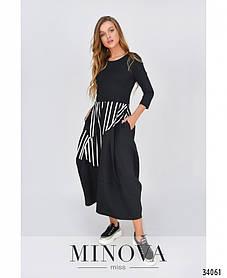 Стильное длинное платье черное покрой баллон размер 42-54 большие размеры