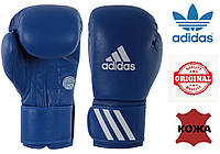 Перчатки для бокса Adidas с аккредитацией WAKO (кикбоксинг) из нат. кожи (ADIWAKOG1-BL, синий), фото 1