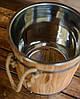 Запарник для веников дубовый 15 л. с нерж. вставкой, фото 4