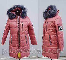 Куртка пуховик женская с мехом на капюшоне модная