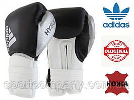 Боксерские перчатки Adidas Hybrid 300 из натуральной кожи (ADIH300-BKSL, черные с серебром)