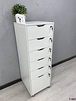 Высокая тумба, шкафчик с ящиками. Модель V483 белый, фото 1