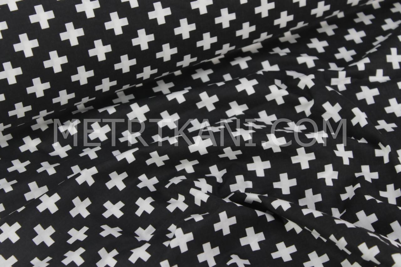 Хлопковая ткань,бязь с белыми крестикам на черном фоне №866