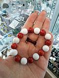 Коралл белый и красный красивый браслет красный коралл натуральный белый губчатый  коралл, фото 4