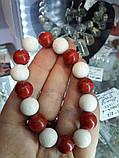 Коралл белый и красный красивый браслет красный коралл натуральный белый губчатый  коралл, фото 3