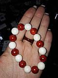 Коралл белый и красный красивый браслет красный коралл натуральный белый губчатый  коралл, фото 2