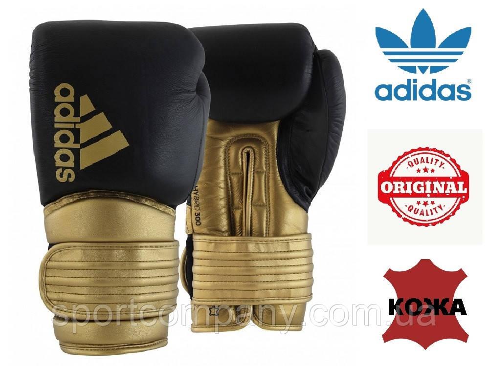 Боксерские перчатки Adidas Hybrid 300 из натуральной кожи (ADIH300, черно-золотые)